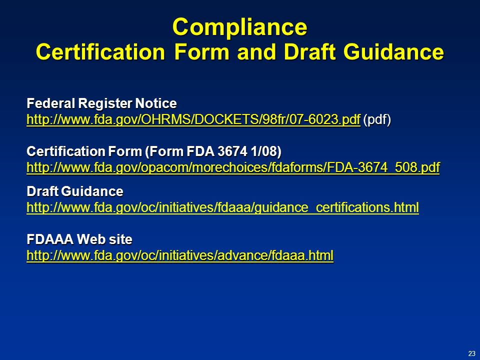 Compliance Certification Form and Draft Guidance