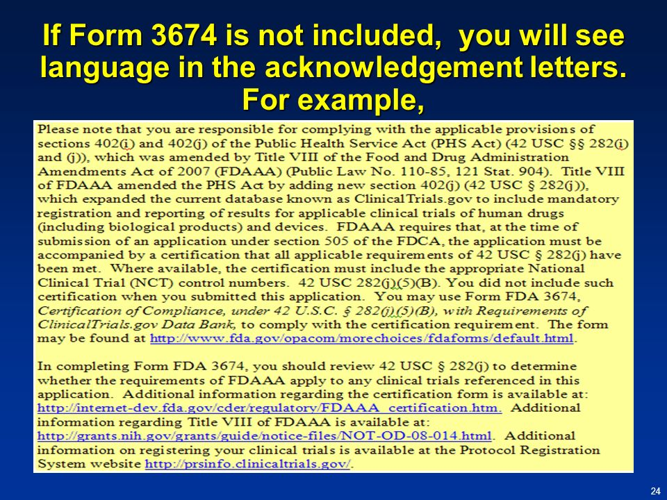 If Form 3674 is not included, you will see language in the acknowledgement letters. For example,