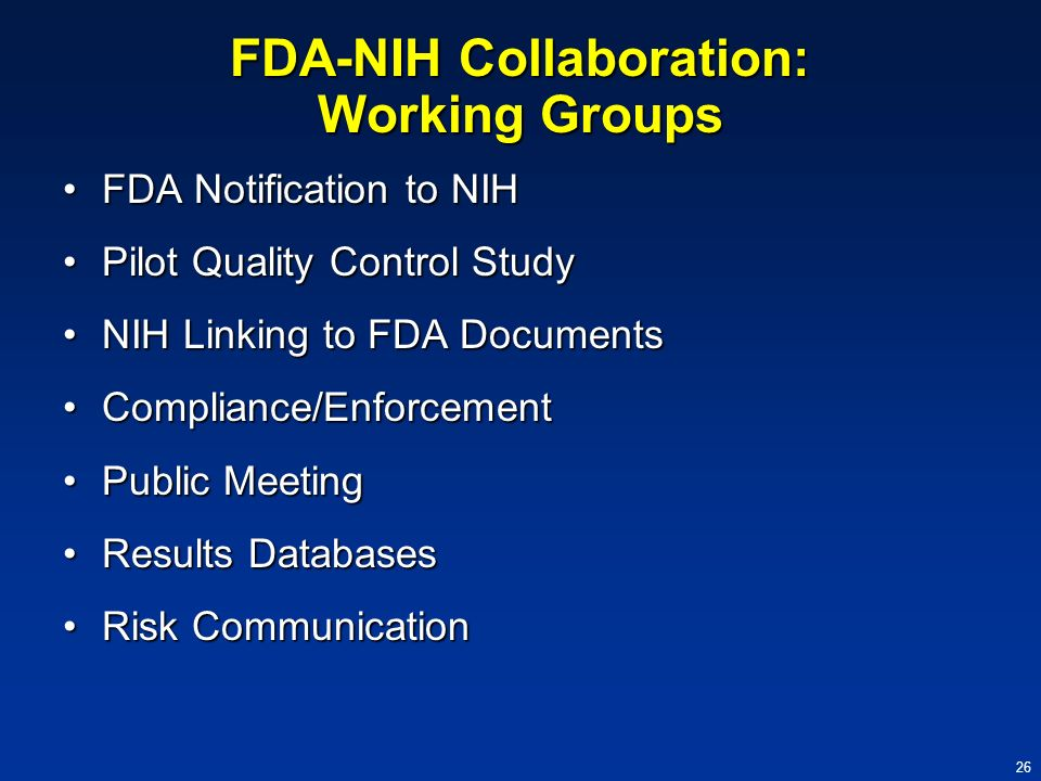 FDA-NIH Collaboration: Working Groups