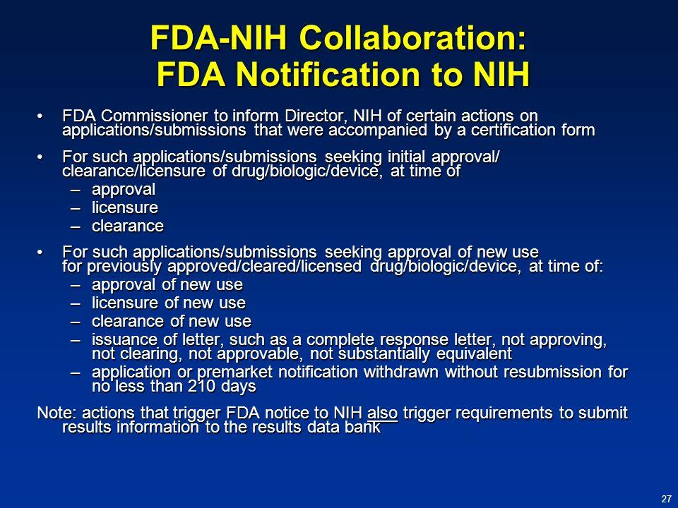 FDA-NIH Collaboration: FDA Notification to NIH