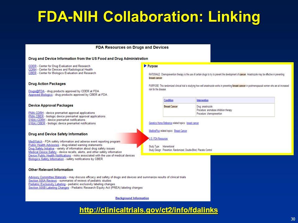 FDA-NIH Collaboration: Linking