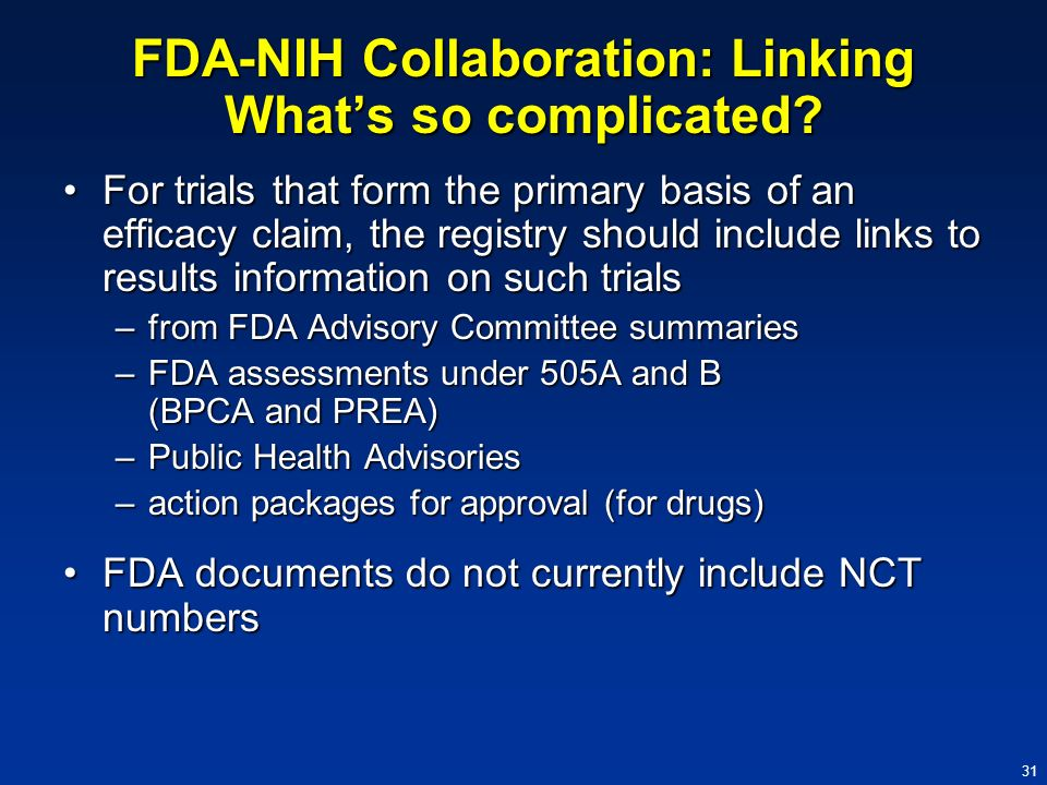 FDA-NIH Collaboration: Linking What's so complicated