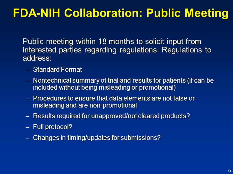 FDA-NIH Collaboration: Public Meeting
