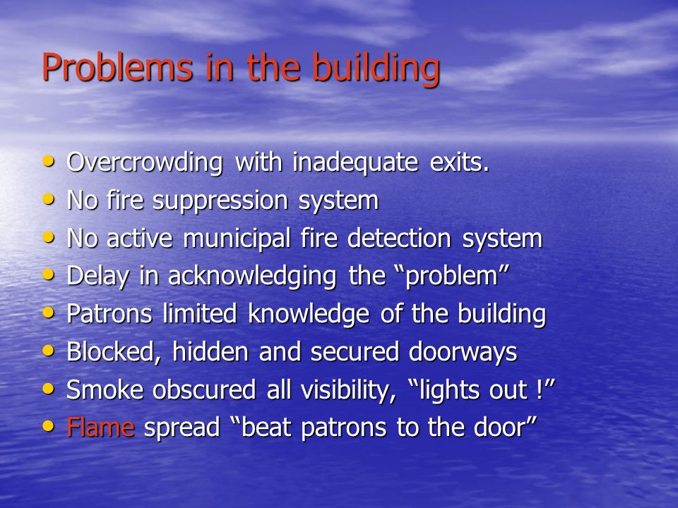 Problems in the building