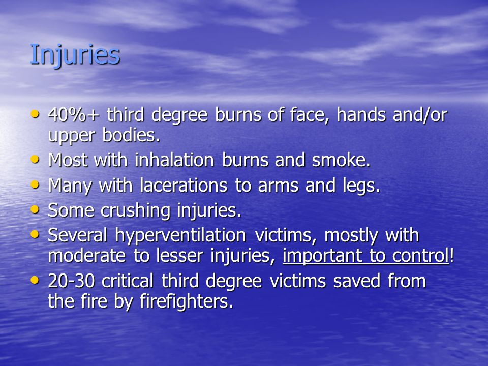 Injuries 40%+ third degree burns of face, hands and/or upper bodies.