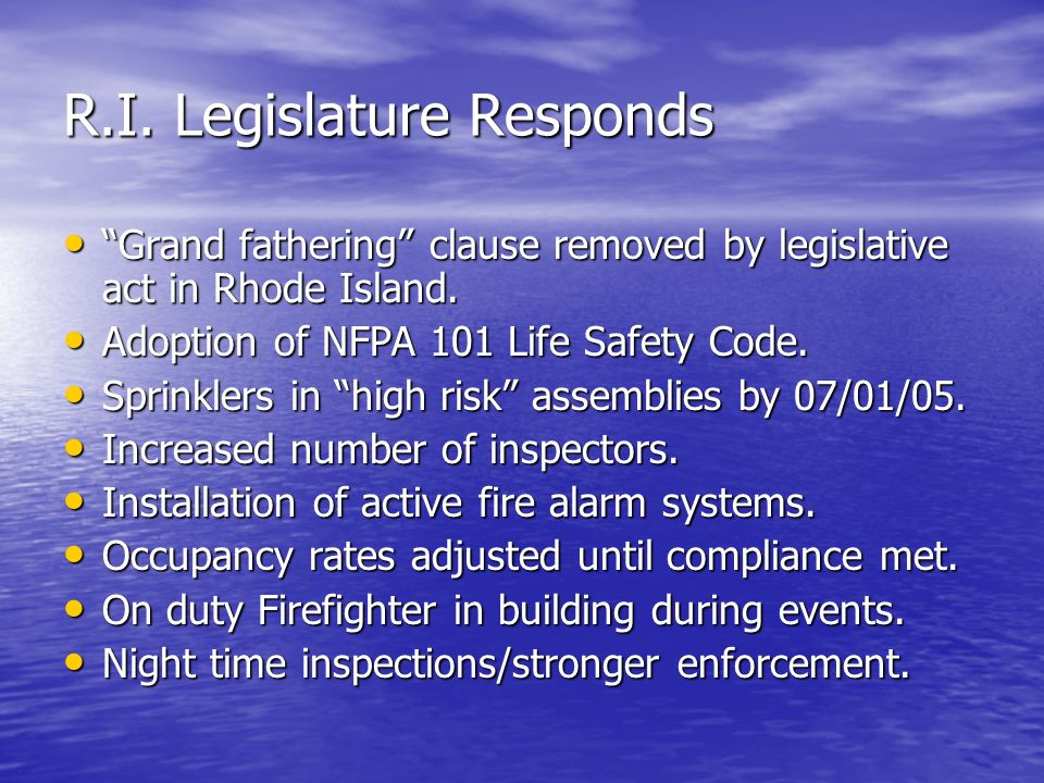 R.I. Legislature Responds
