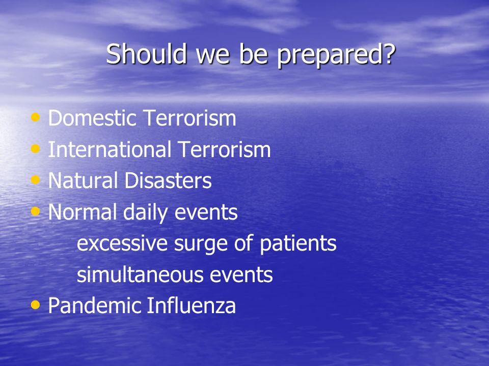Should we be prepared Domestic Terrorism International Terrorism