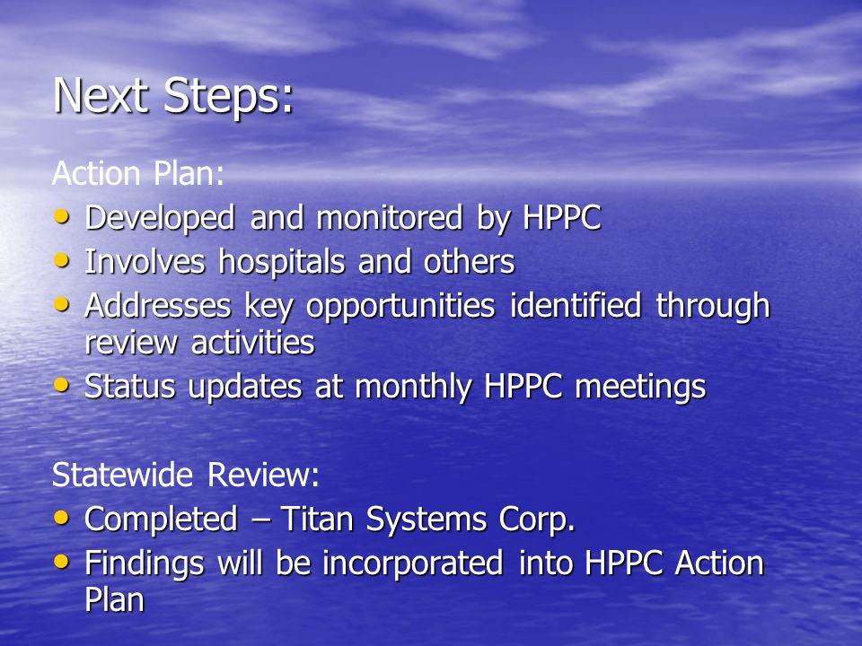 Next Steps: Action Plan: Developed and monitored by HPPC