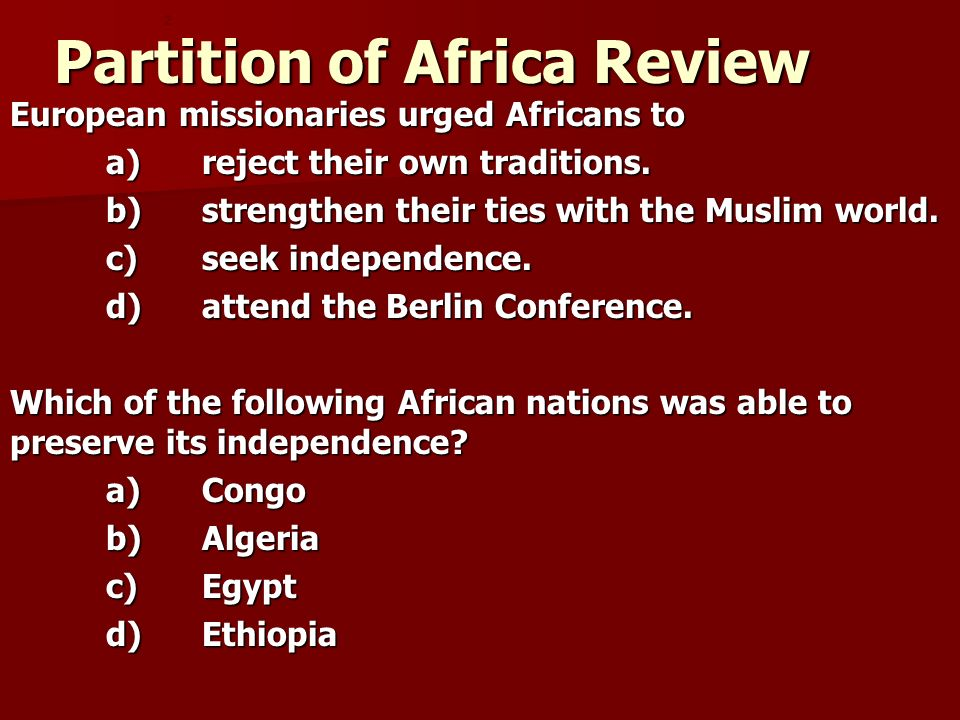 Partition of Africa Review