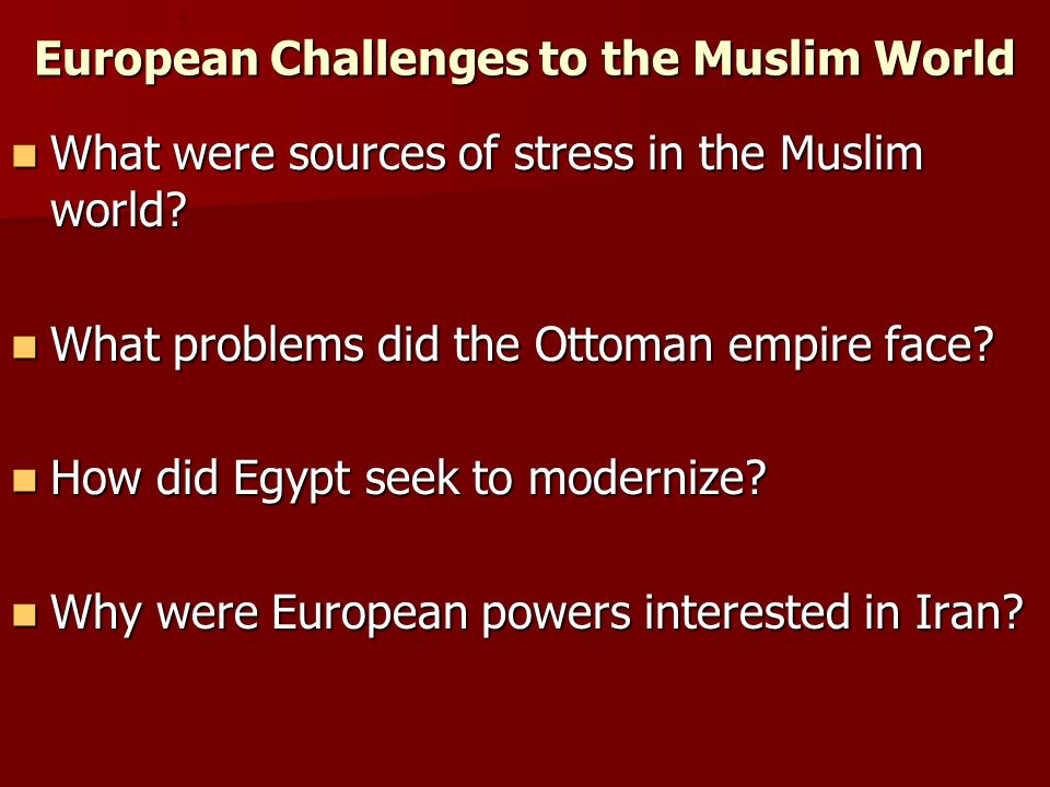 European Challenges to the Muslim World
