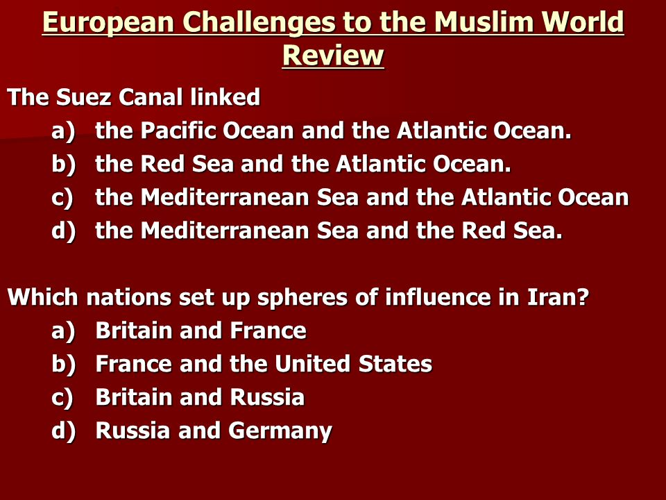European Challenges to the Muslim World Review