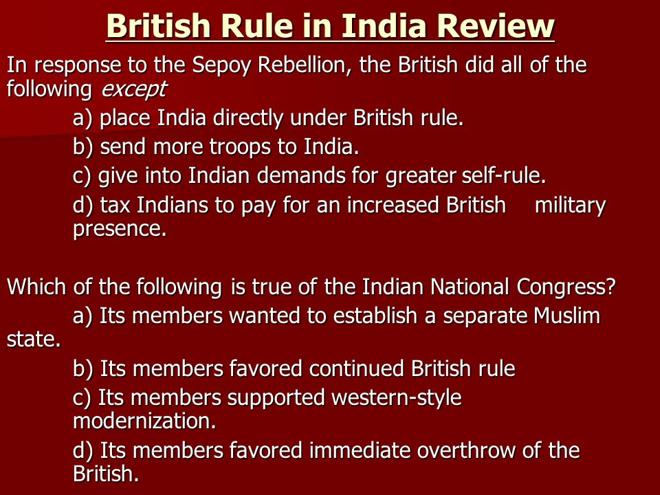 British Rule in India Review
