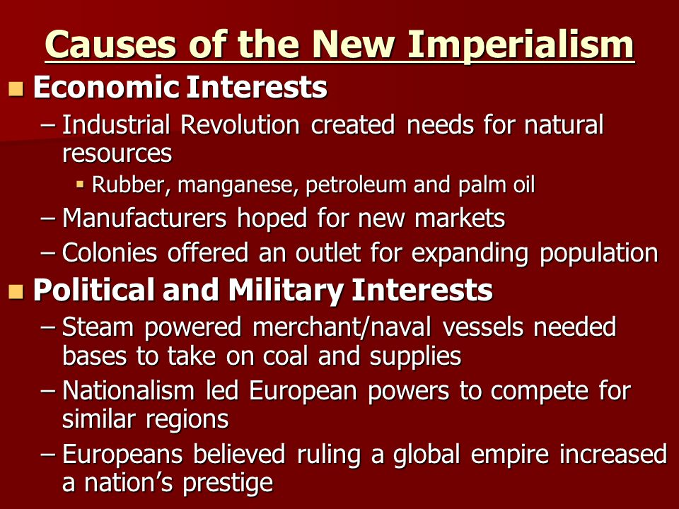 How far was imperialism the cause
