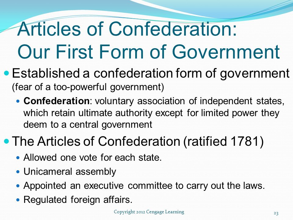 articles of confederation relationship between states and federal government