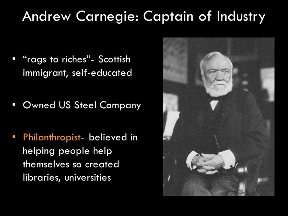 andrew carnegie the charitable captain of Carnegie believes that charity is also bad and instead of handouts money   when i hear the word captain of industry the name andrew carnegie comes to.