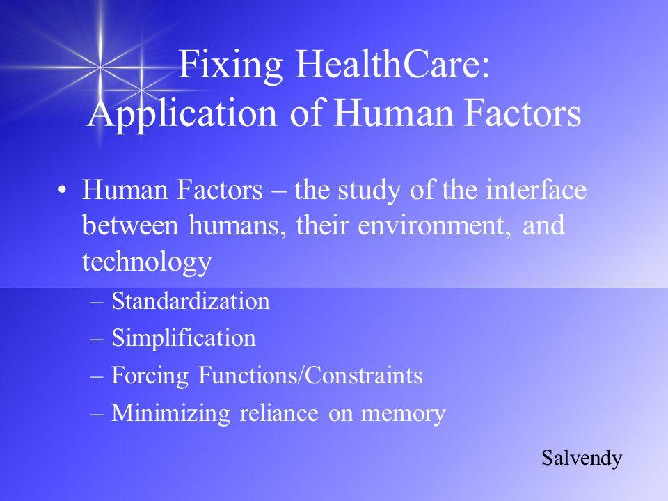 Fixing HealthCare: Application of Human Factors