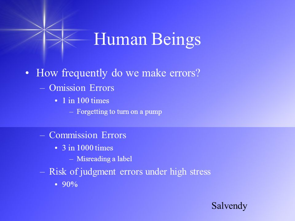 Human Beings How frequently do we make errors Omission Errors