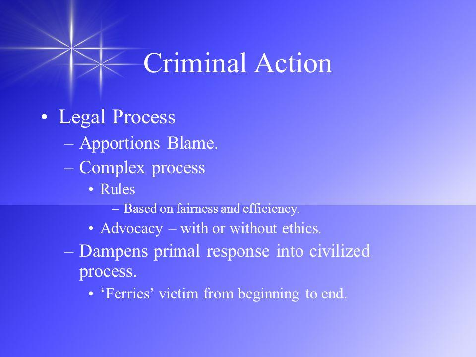 Criminal Action Legal Process Apportions Blame. Complex process