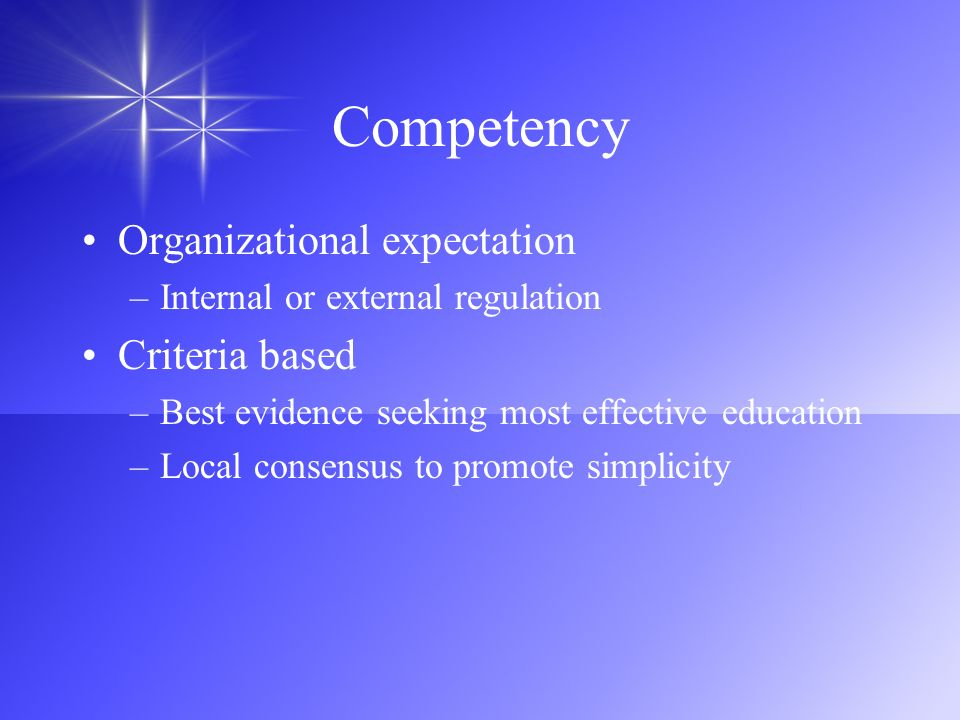 Competency Organizational expectation Criteria based