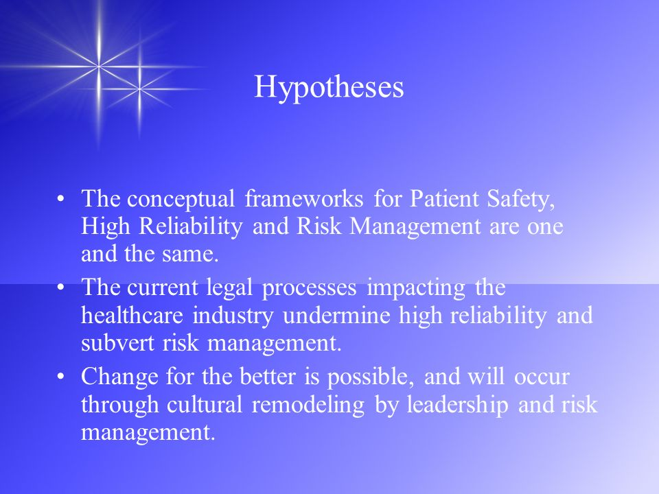 Hypotheses The conceptual frameworks for Patient Safety, High Reliability and Risk Management are one and the same.