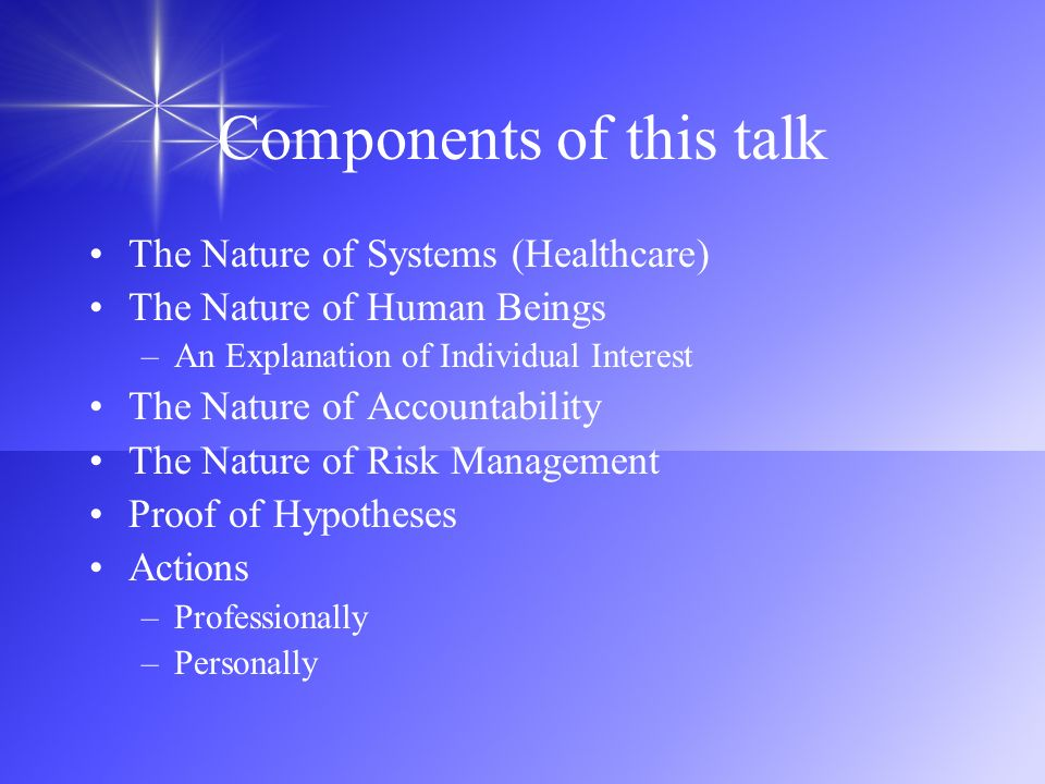 Components of this talk