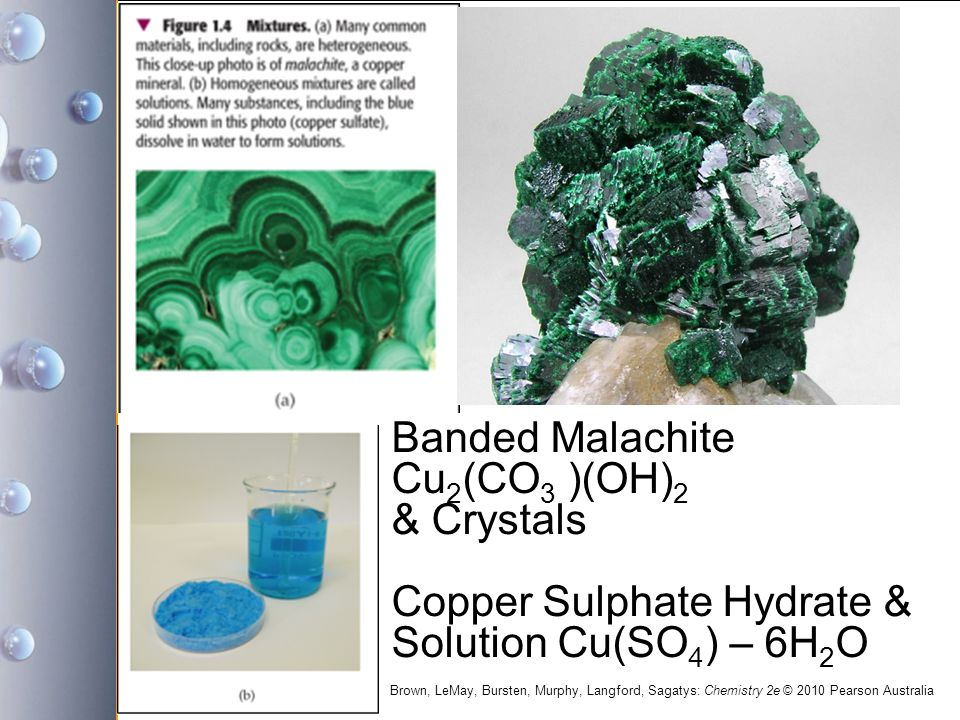 Banded Malachite Cu2(CO3 )(OH)2 & Crystals Copper Sulphate Hydrate & Solution Cu(SO4) – 6H2O