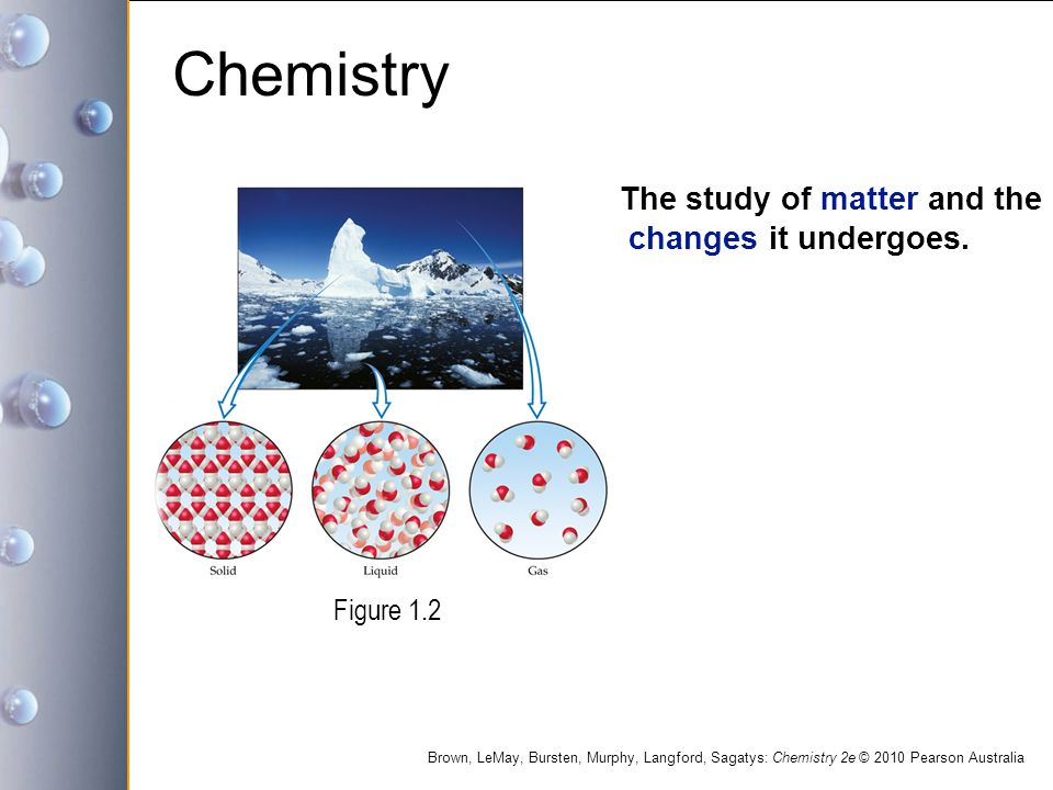 Chemistry The study of matter and the changes it undergoes. Figure 1.2