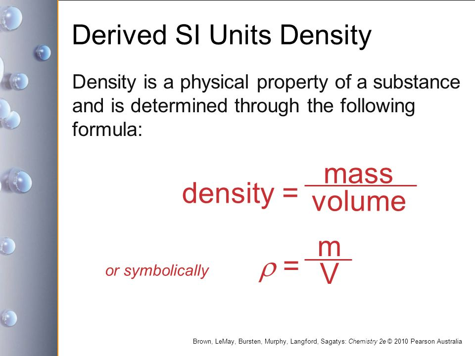 Derived SI Units Density