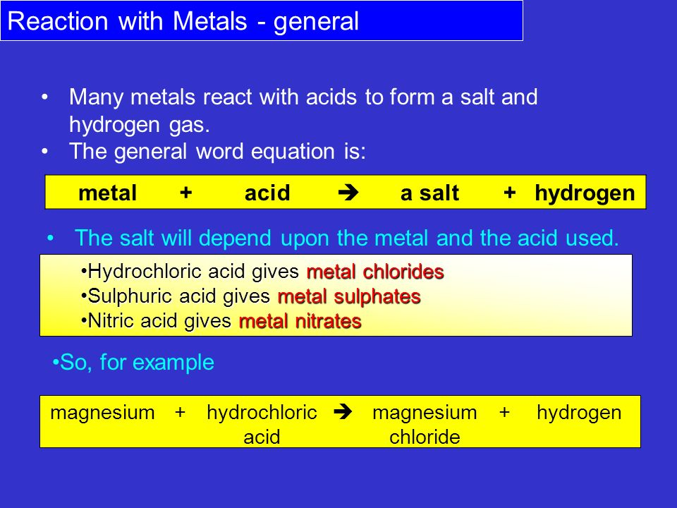 Reaction With Metals General Ppt Video Online Download