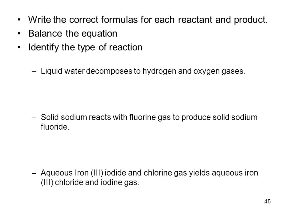 chlorine reacts with water write a balanced equation for the complete