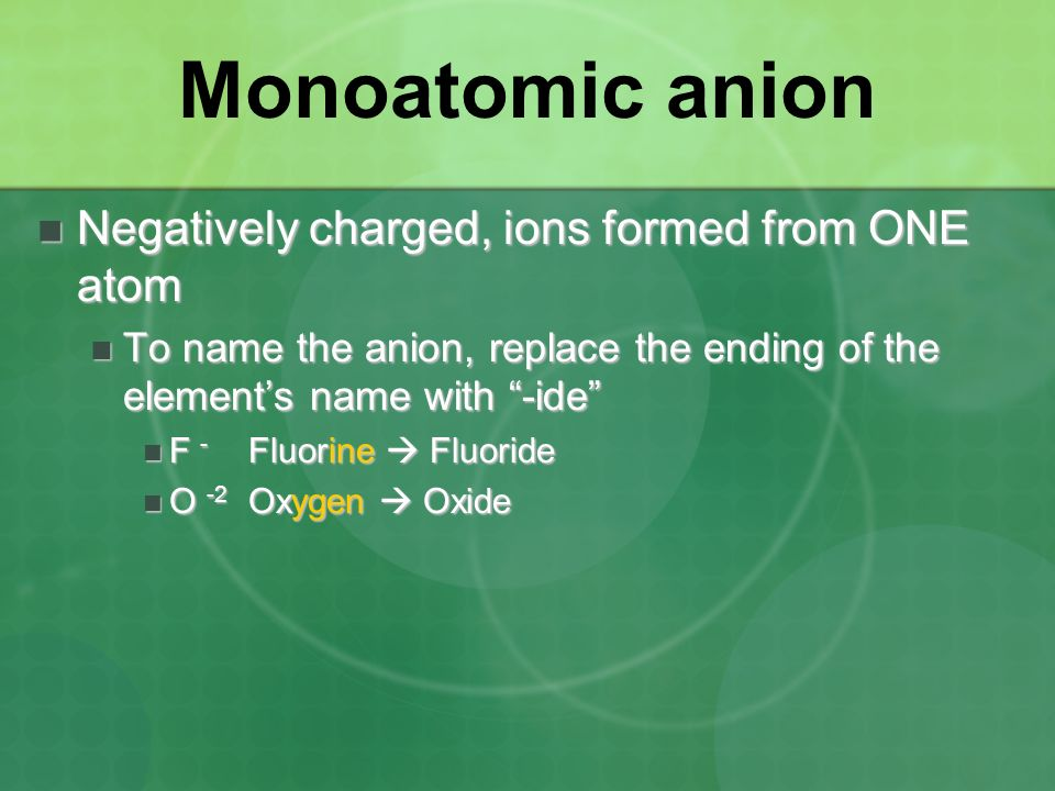Monoatomic anion Negatively charged, ions formed from ONE atom