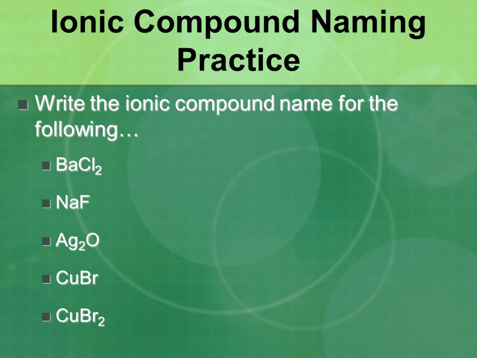 Ionic Compound Naming Practice