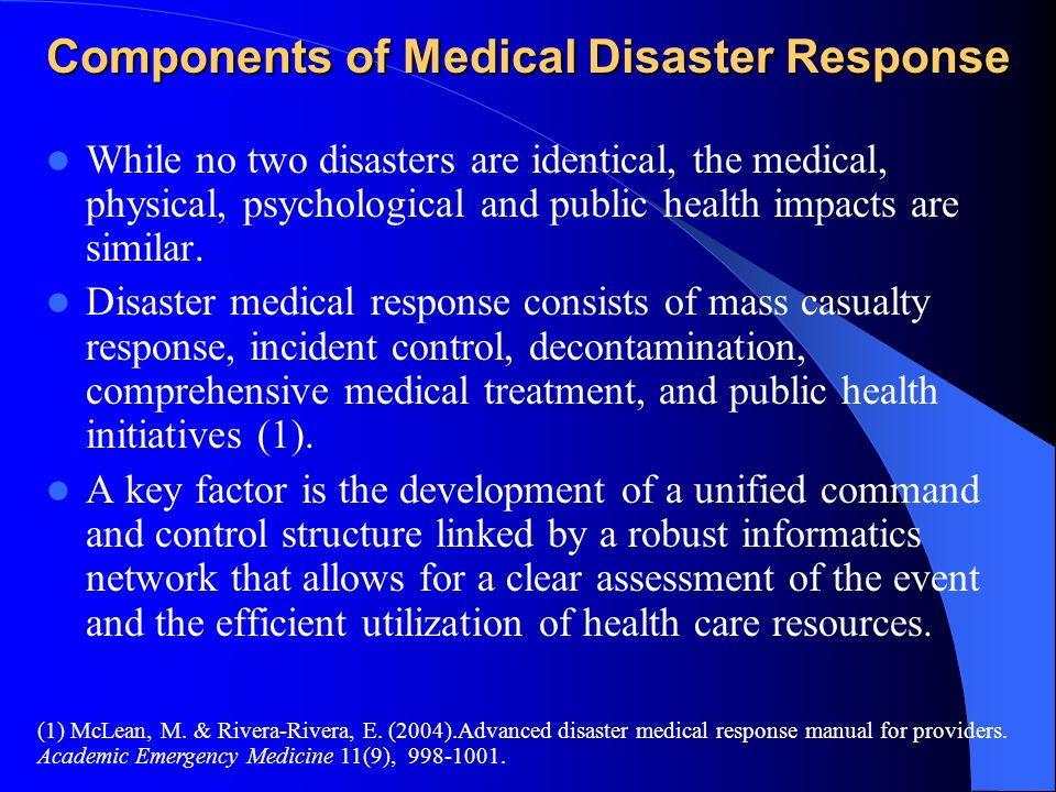 Components of Medical Disaster Response