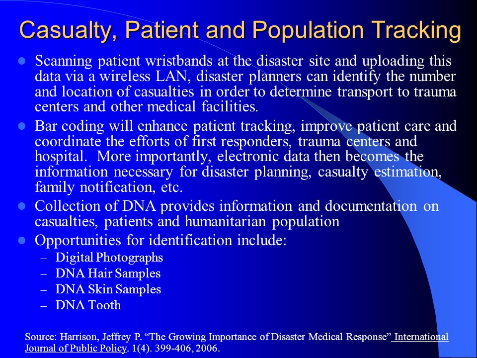 Casualty, Patient and Population Tracking