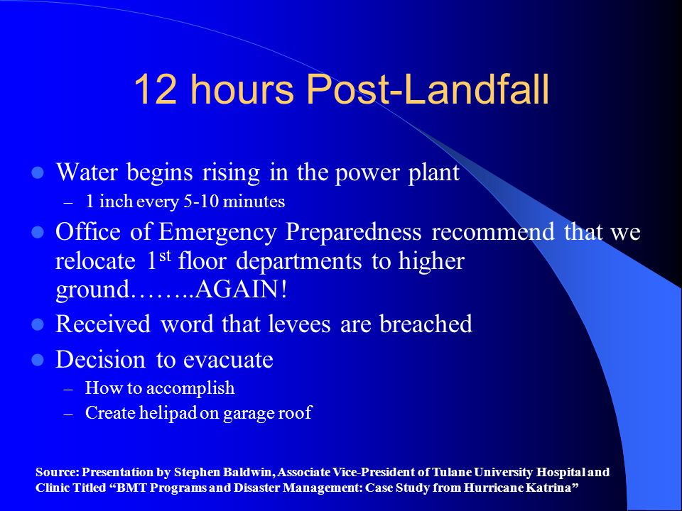 12 hours Post-Landfall Water begins rising in the power plant