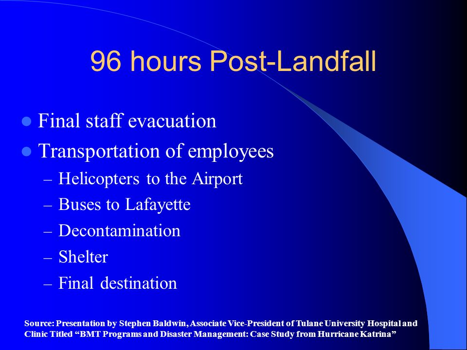 96 hours Post-Landfall Final staff evacuation