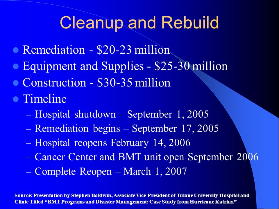 Cleanup and Rebuild Remediation - $20-23 million