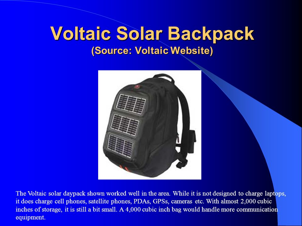 Voltaic Solar Backpack (Source: Voltaic Website)