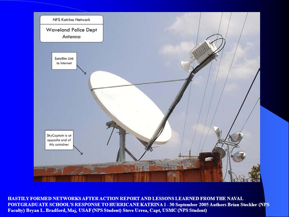 HASTILY FORMED NETWORKS AFTER ACTION REPORT AND LESSONS LEARNED FROM THE NAVAL POSTGRADUATE SCHOOL'S RESPONSE TO HURRICANE KATRINA 1 - 30 September 2005 Authors Brian Steckler (NPS Faculty) Bryan L.