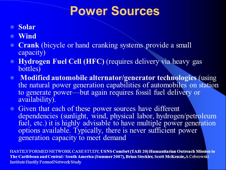 Power Sources Solar Wind