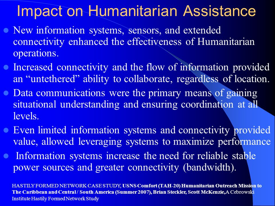 Impact on Humanitarian Assistance