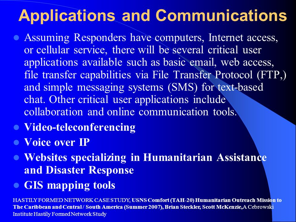 Applications and Communications