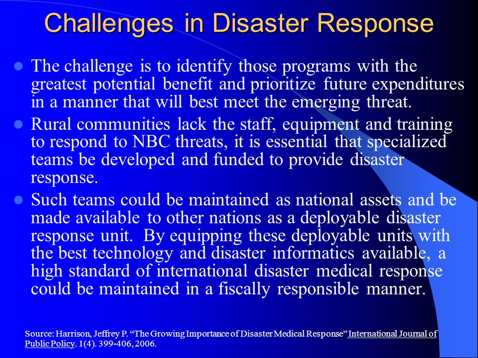 Challenges in Disaster Response