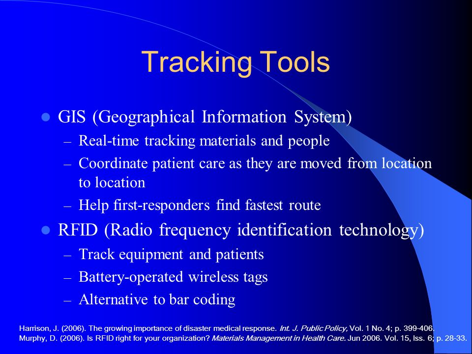 Tracking Tools GIS (Geographical Information System)