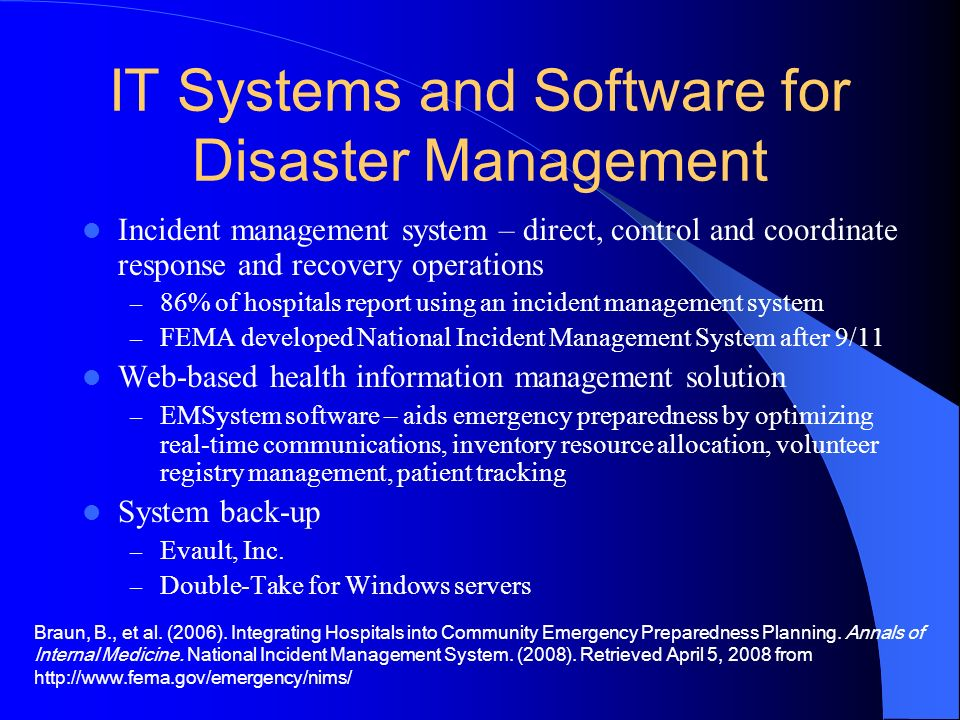 IT Systems and Software for Disaster Management