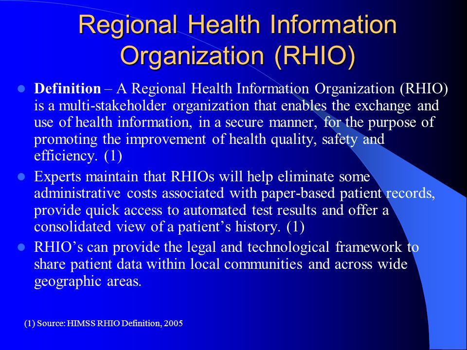 Regional Health Information Organization (RHIO)
