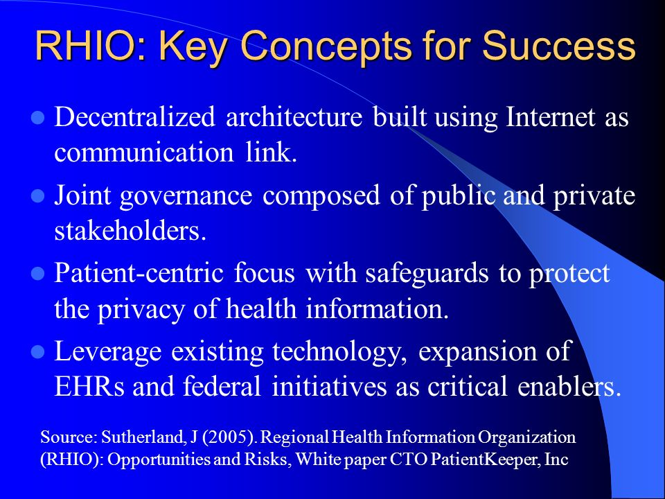 RHIO: Key Concepts for Success