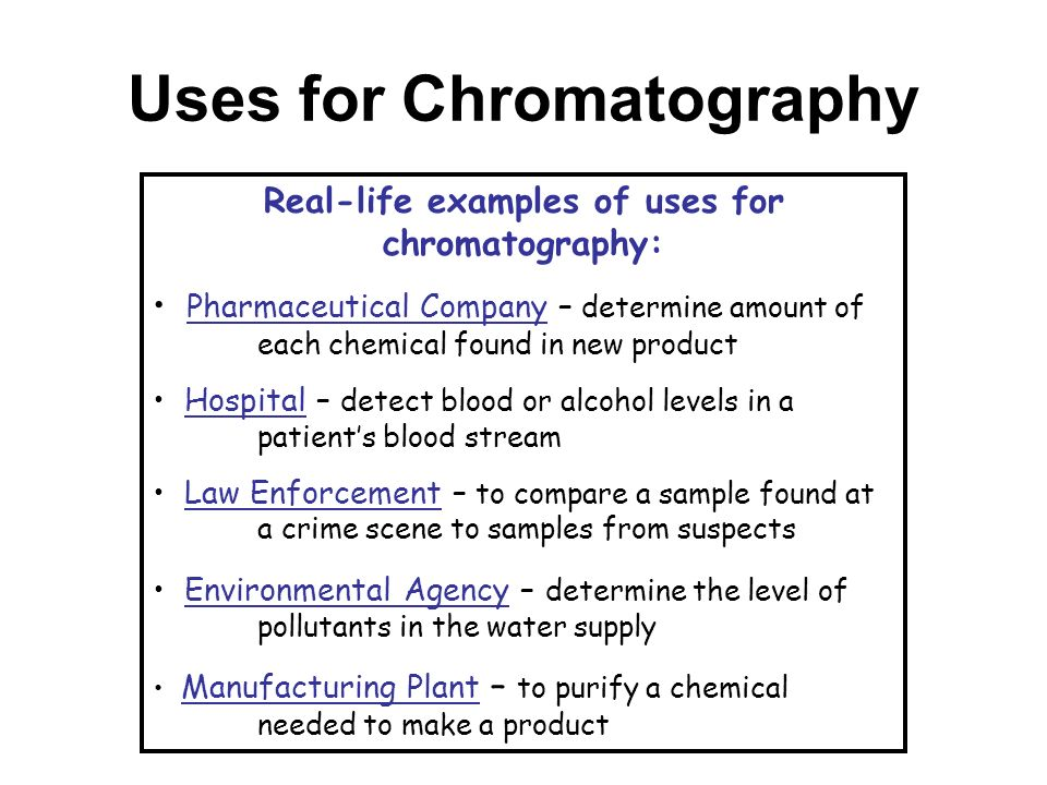 uses of paper chromatography in chemistry Paper chromatography: a laboratory manual focuses on methods,  with a  readily accessible source for the uses and adaptations of paper chromatography.