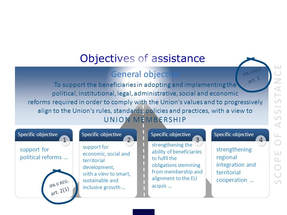 Objectives of assistance