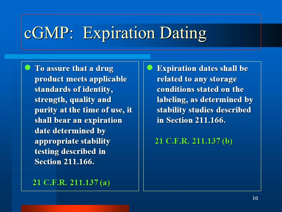 cGMP: Expiration Dating
